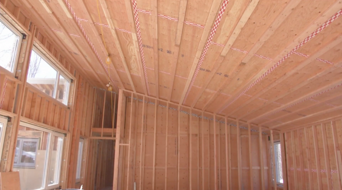 Inside view of roof and wall framing