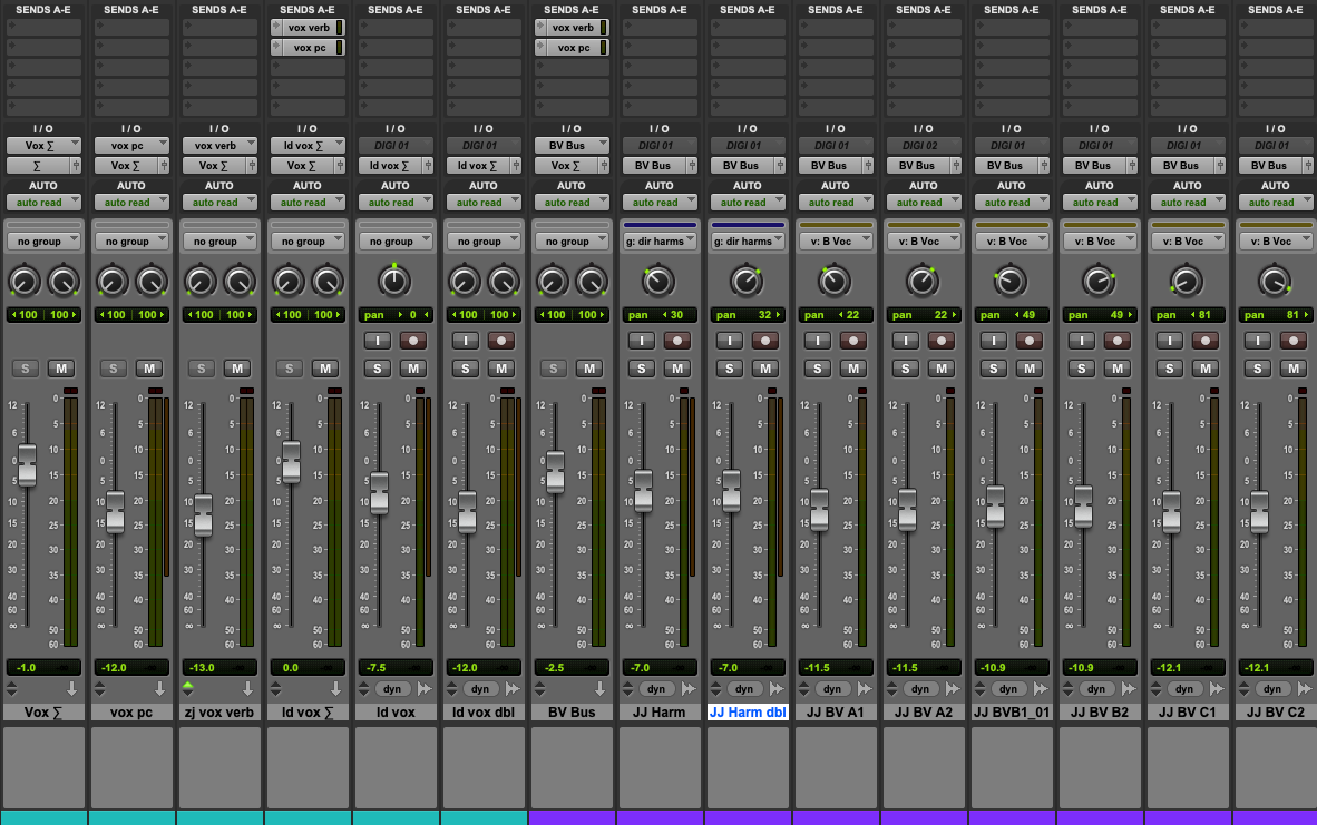 Vocal bussing in Pro Tools.