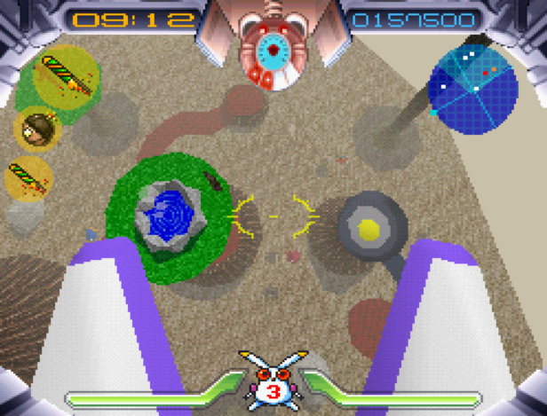 A screenshot of Robbit leaping over stage 1-2, with scenery including a hot spring, lava river and frying pan with fried egg