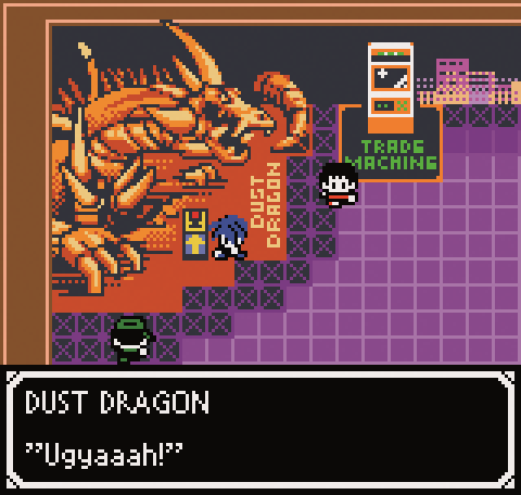 A screenshot of the Dust Dragon making a noise