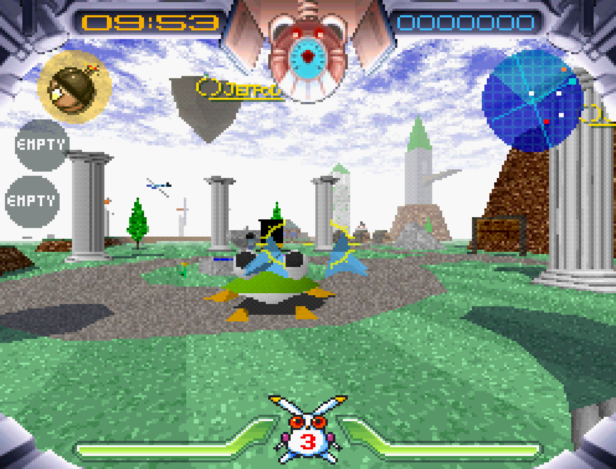 A screenshot of Robbit looking at a frog enemy, which is wearing a top hat