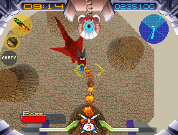 A screenshot of Robbit looking down from above at a fire-breathing dragon enemy