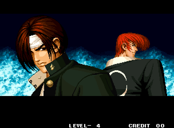 A screenshot of Kyo and Iori in the intro sequence