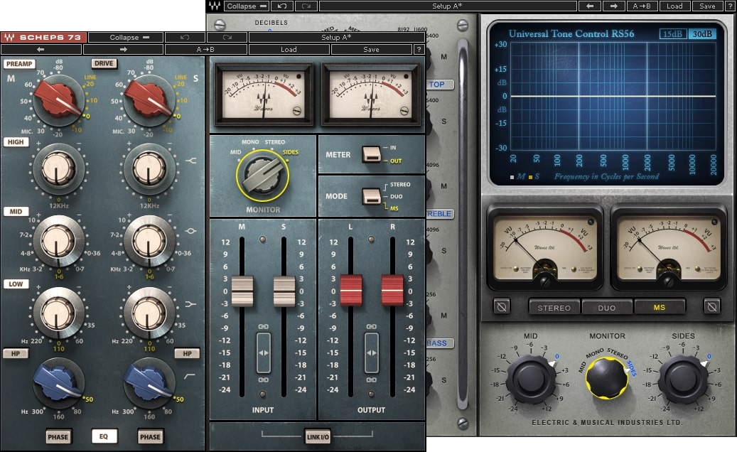 Figure 7: The Scheps 73 on the left is showing the sides level for Madonna. The Abbey Road RS56 EQ is showing the sides for Peter Gabriel—note the difference in levels.