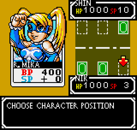 A screenshot of R. Mika being placed on the battlefield