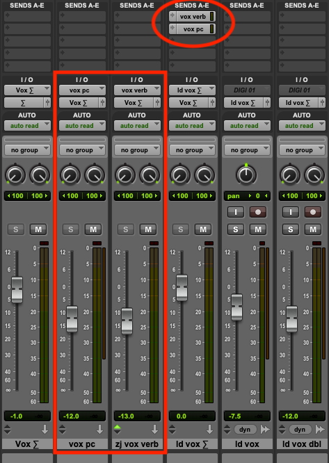 Send outputs are routed to reverb and parallel compression busses.