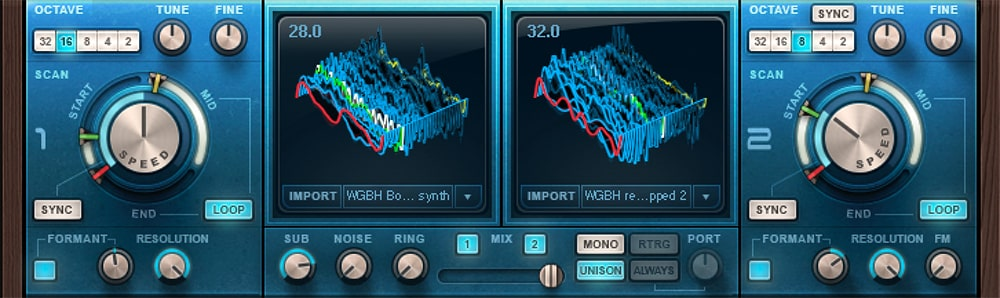 Our Codex user wavetables in Oscillators 1 and 2