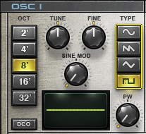 A square wave has been selected within OSC 1