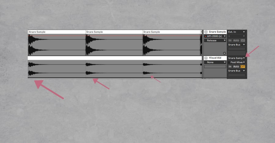 The above waveform is the uncompressed snare; the below waveform is the snare after compression.