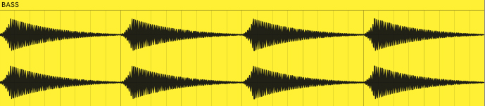 This is what the volume envelope of the bass from example 6 looks like when rendered to audio